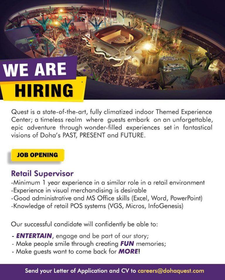 Retail Supervisor Qatar Openings Job Opening Supervisor Qatar
