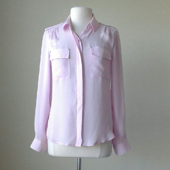 7b45c0af9557b Long sleeve silk utility pink shirt top Hidden button front placket with  collar