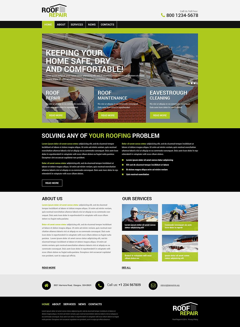 roofing company wordpress theme company roofing theme