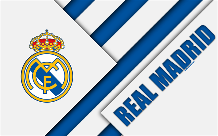 Download Wallpapers Real Madrid Cf 4k Spanish Football Club Real Madrid Logo Material Design Blue White Abstraction Football La Liga Madrid Spain Besth Real Madrid Logo Real Madrid Wallpapers Real Madrid
