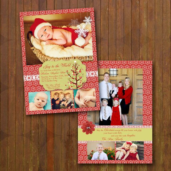 FAVE! 2 Sided Christmas Card and Birth Announcement - festive. $24.00, via Etsy.