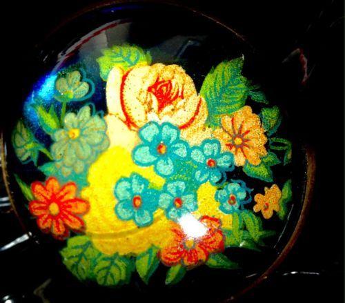 Vintage-Floral-Blue-Domed-Glass-Horse-Bridle-Rosette