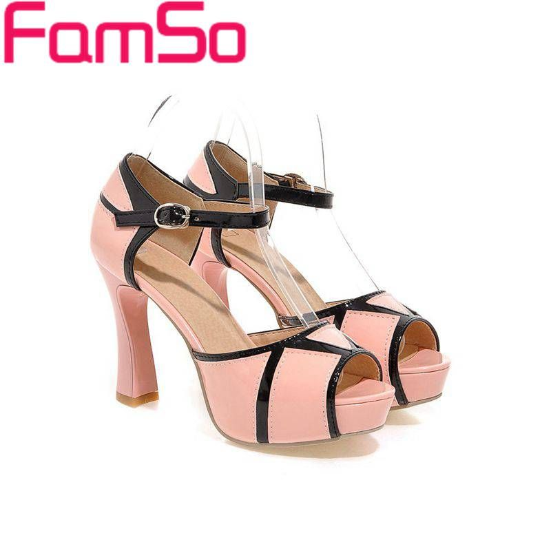 Plus Size34-43 2016 New Women Sandals patchwork High Heels Shoes Peep toe White Platforms Pumps Summer Women's Sandals PS2100 alishoppbrasil