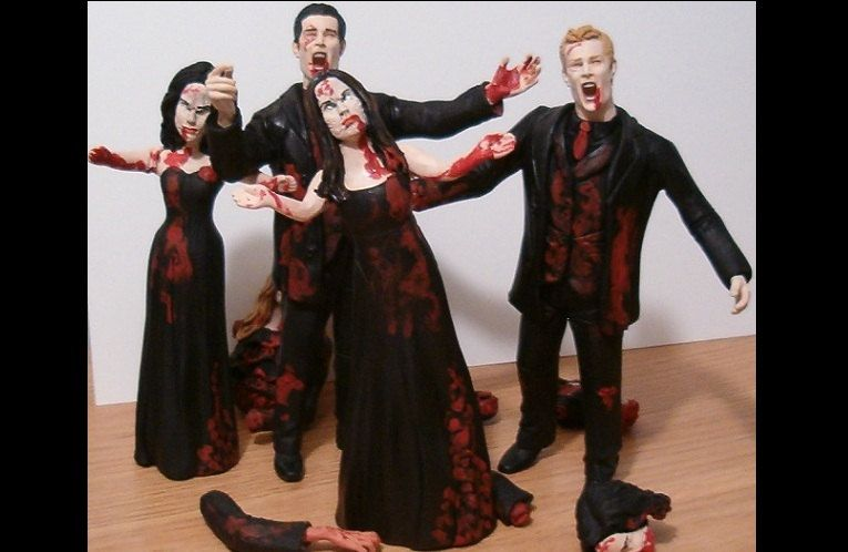 Set of 4 Zombie Bridal Party Figurine Cake Toppers - Your Choice - Custom Figure Sculpture Commission by Jsebold87 on Etsy