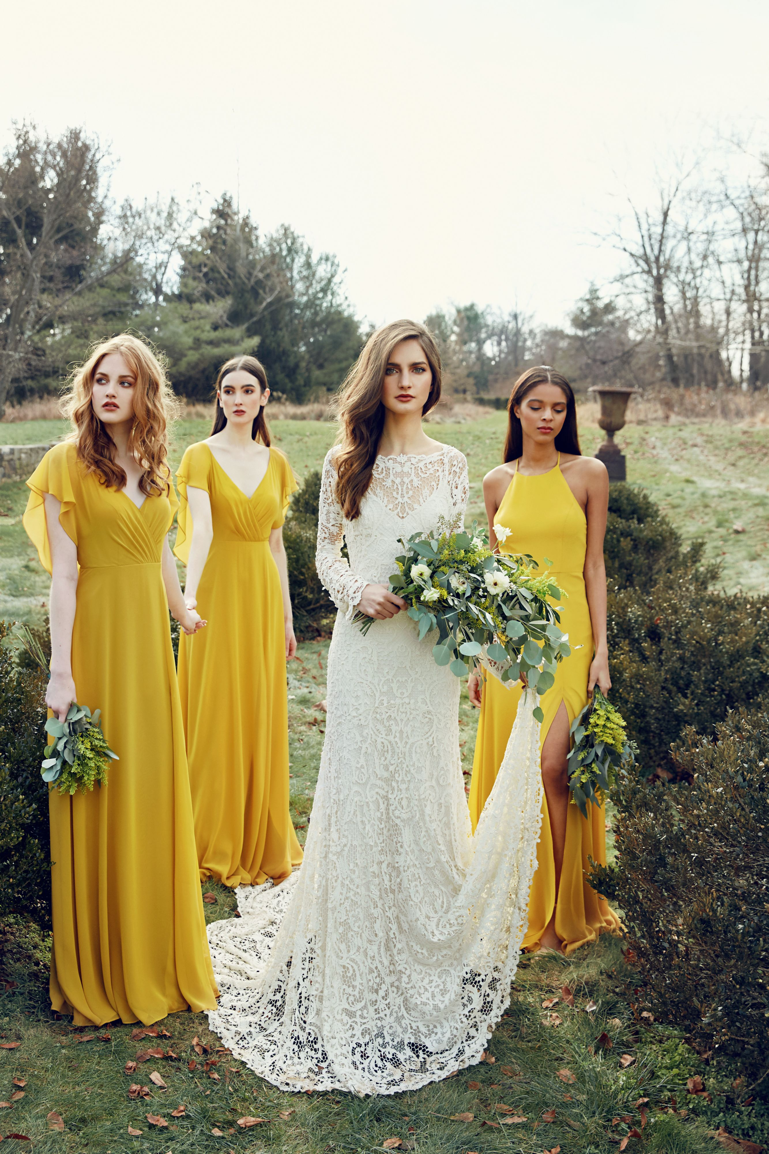 3b99fb1a1d592 Chartreuse bridesmaids dresses paired perfectly with a long sleeve lace wedding  dress. This bridal squad is killing it! Dresses from Jenny Yoo Collection.