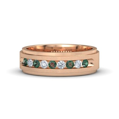 18K Rose Gold Ring with Alexandrite and Diamond   Crown Band (2.5mm gem)   Gemvara