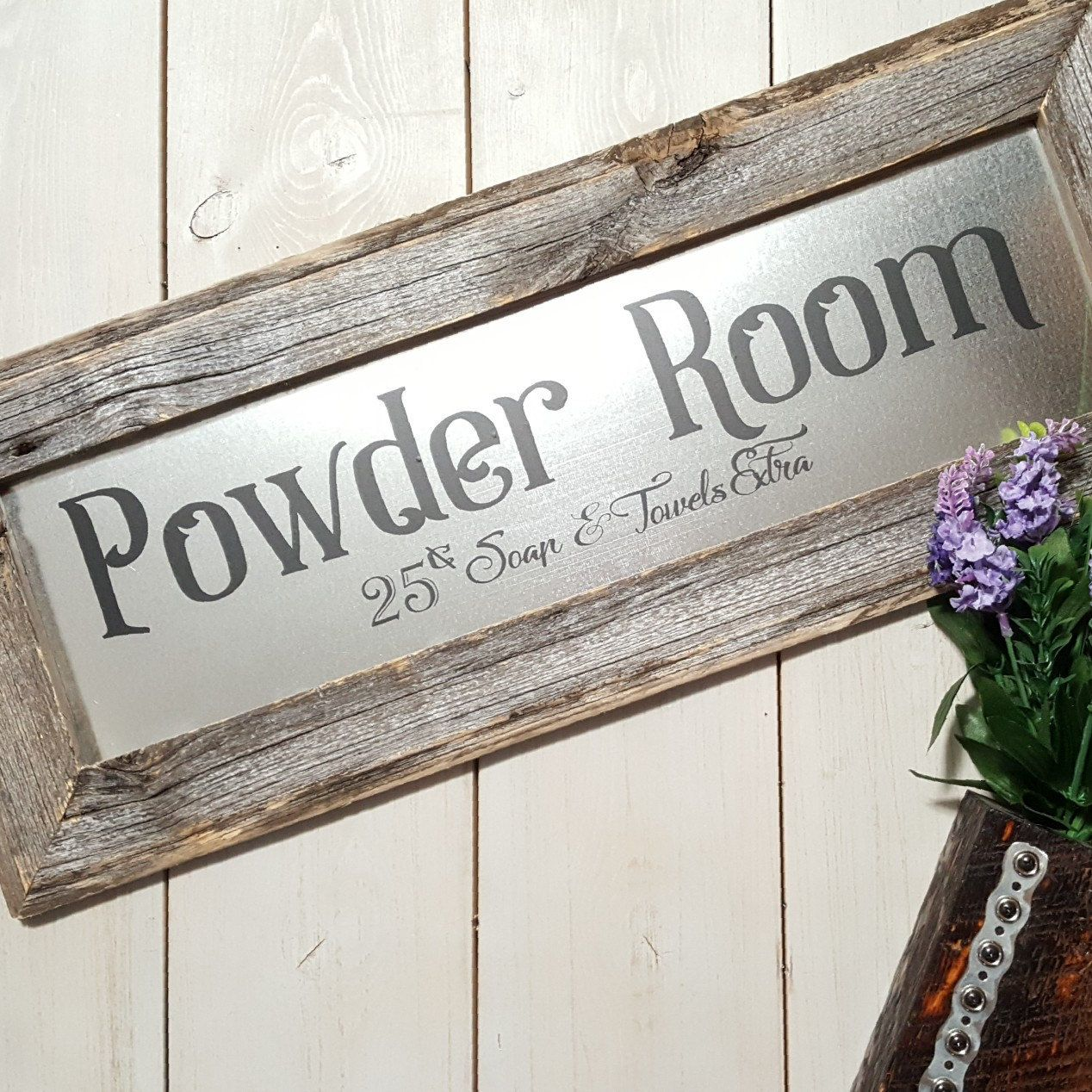 Now Available Our Rustic Powder Room Sign Made With Galvanized Metal And Authentic Barn Wood Rustic Powder Room Powder Room Signs Bathroom Signs