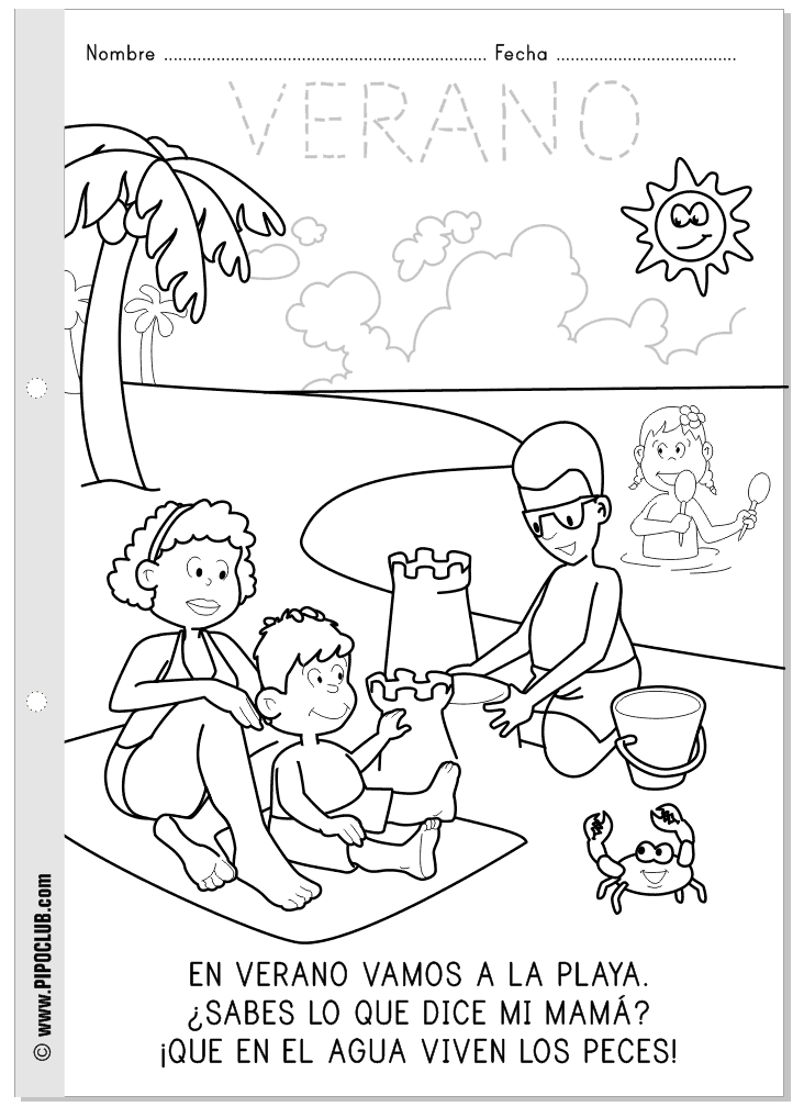 Las estaciones: el verano. Repasa, colorea y lee. #coloringpages ...