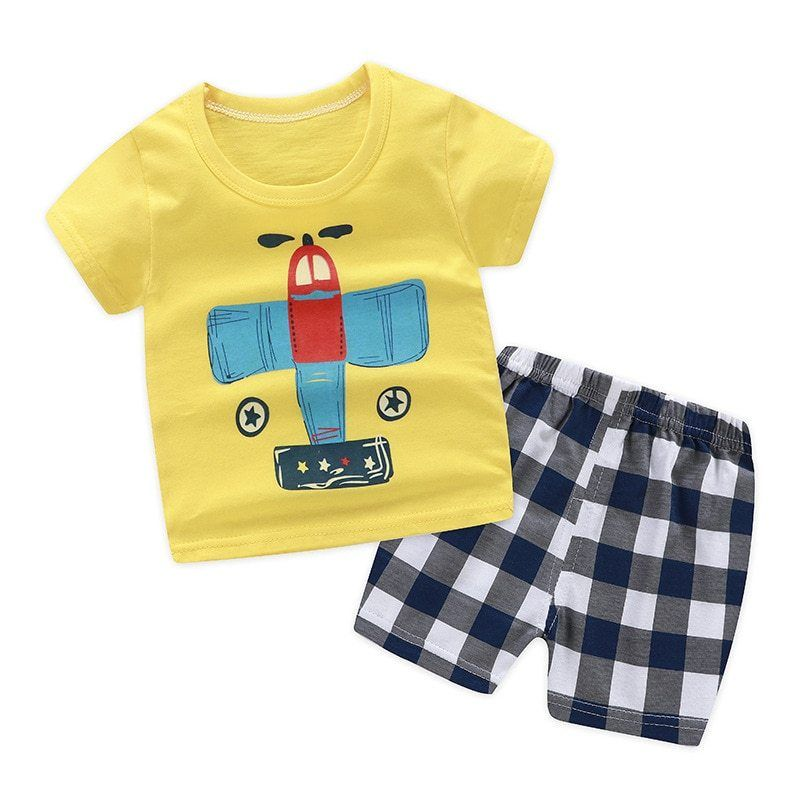 Kehen Infant Baby Toddler Boy Classic Short Sleeve T Shirt Top Striped Shorts Sets 2pcs Summer Clothes