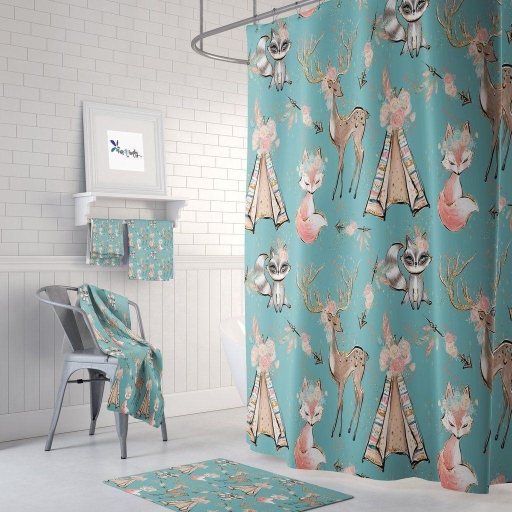 Woodland Boho Animals Shower Curtain Bath Towels Bath Mat