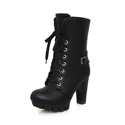 Womens Chunky Heels Lace-Up Buckle Short Plush Boots