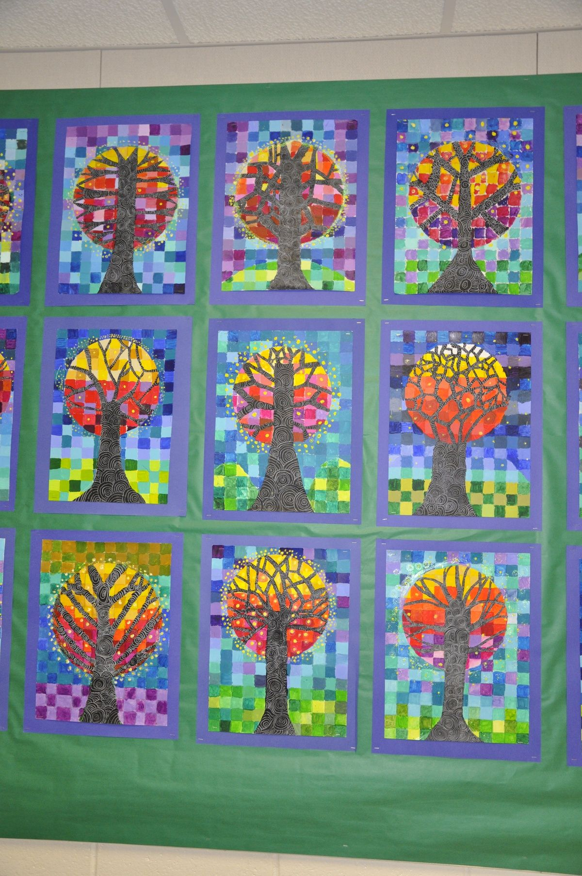 5th Grade Trees With Monochromatic Background