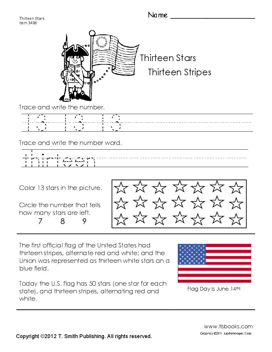 Thirteen Stars And Thirteen Stripes Worksheet The 13