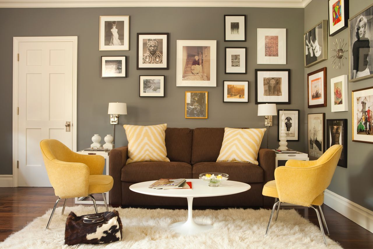 Yellow Chairs Brown Sofa And Grey Walls By Karyn R Millet Interior