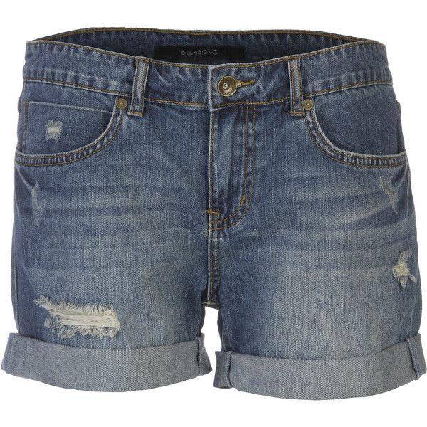 Billabong Johnny Denim Short (120 BRL) ❤ liked on Polyvore featuring shorts, distressed denim shorts, billabong, destroyed shorts, ripped denim shorts and distressed shorts