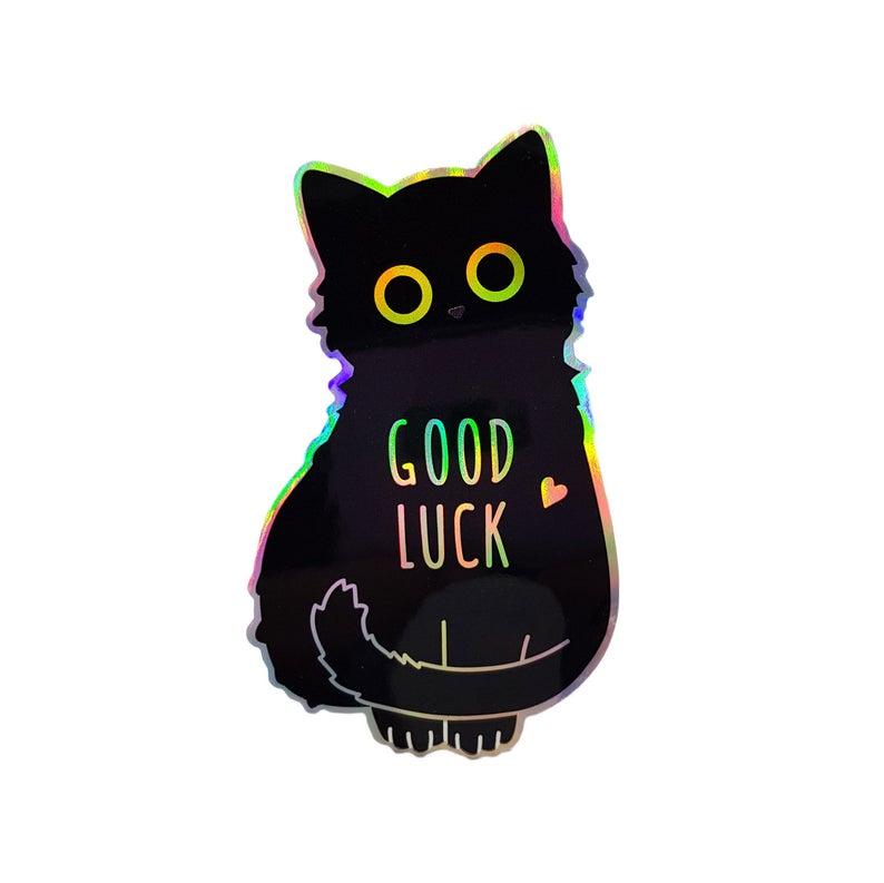 Cat Sticker Good Luck Cat Cat Eyes Sticker Black Sticker Etsy Black Cat Sticker Cat Stickers Black Stickers