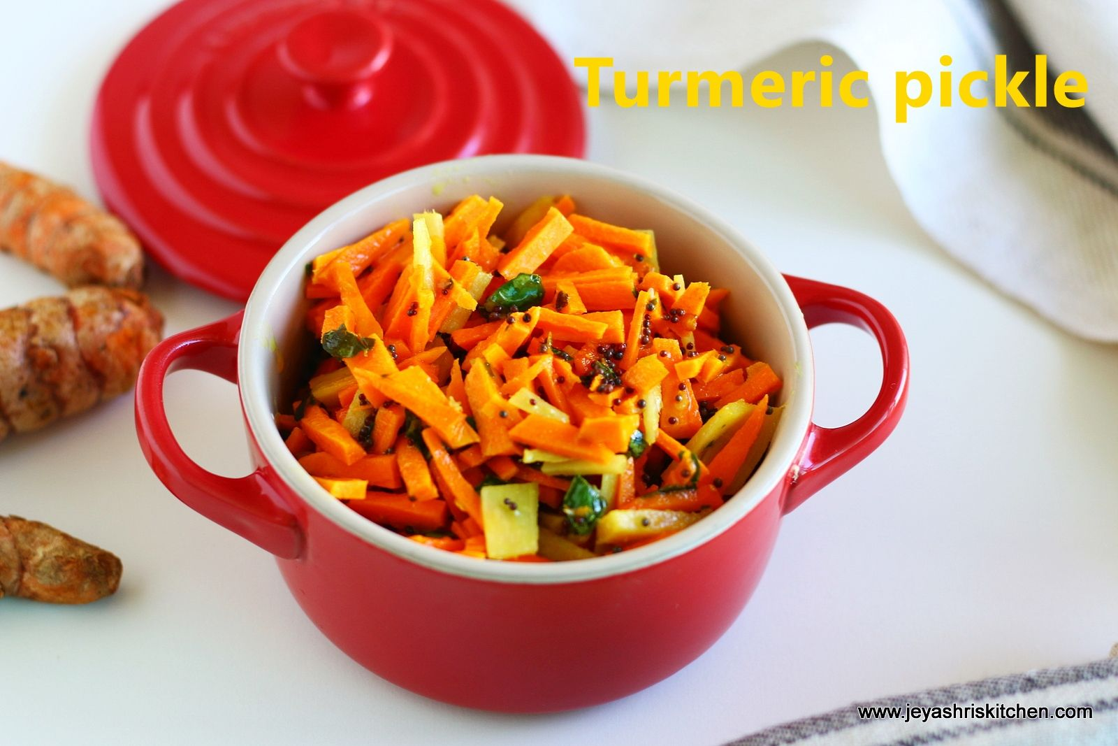 Fresh turmeric pickle recipe with step by step pictures