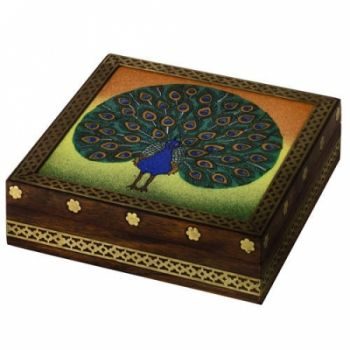 Peacock Gemstone Trinket Keepsake Jewelry Wood Box Gift Ideas at the Shopping Mall, $39.50 (USD)