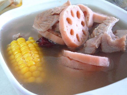 corn,lotus root and pork ribs soup