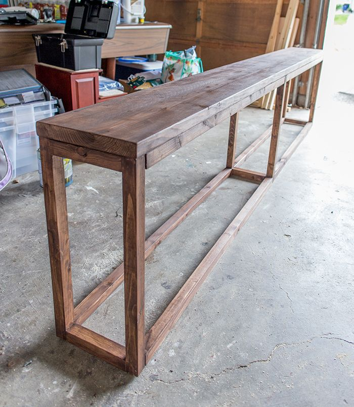 fascinating Diy Narrow Table Part - 3: This 9u0027 sofa table can be made for around just $30! Link to tutorial