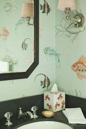 Good My Grandmother Had Awesome Fish Wallpaper In Her Bath!