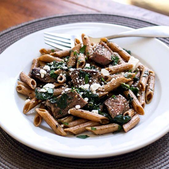 Steak and spinach tossed with pasta and a balsamic, dijon, and herb dressing.