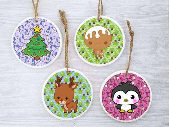 Cute Christmas Ornaments Cute Christmas Animals Kawaii Christmas