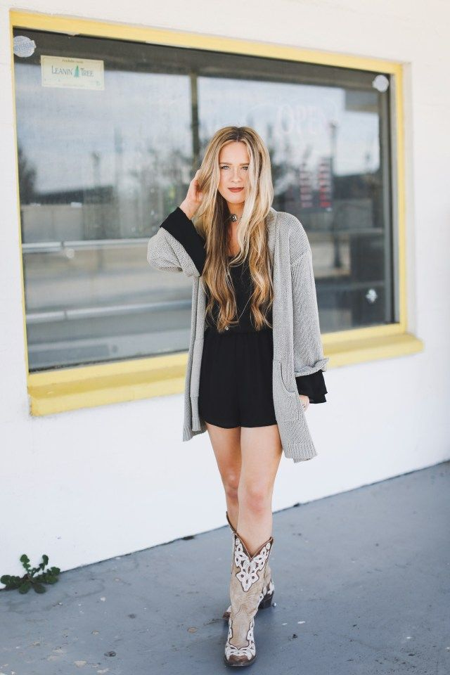 detailed pictures sale usa online quite nice concert outfit | black romper + cardigan + cowboy boots ...