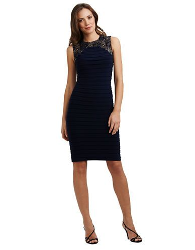 ADRIANNA PAPELL Short Sleeveless Lace Banded Dress - NAVY - Women's Apparel Deals