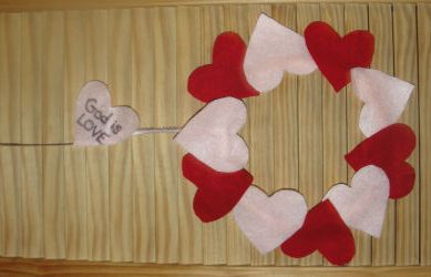 this heart flower wreath makes for a great valentines day gift decoration or activity for a bible lesson about gods love - Valentine Sunday School Lesson