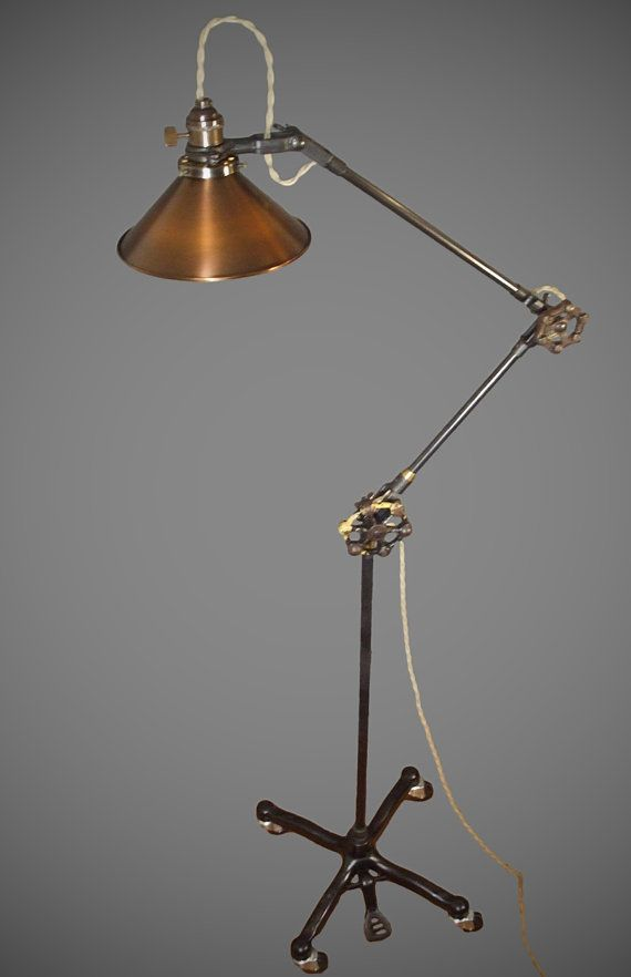 vintage industrial floor lamp machine age task light cast iron steampunk copper lamp shade 1940s retro medical industrial lighting