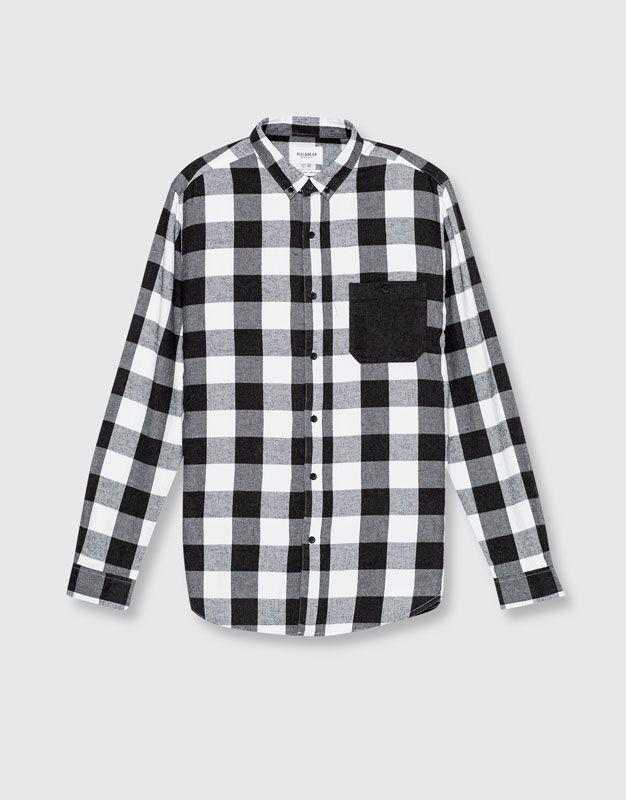 Camisa franela cuadro damero - Camisas - Ropa - Hombre - PULL&BEAR México