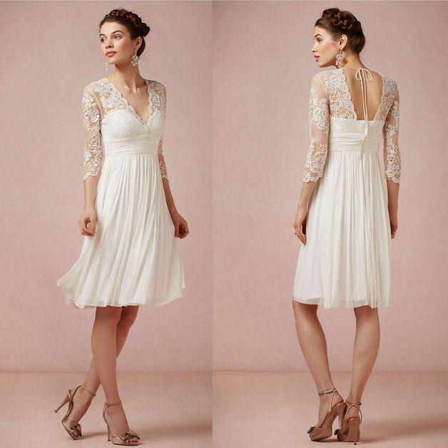 Hochzeitskleider - V-Ausschnitt Lace Short Brautkleid mit Halbarm ...