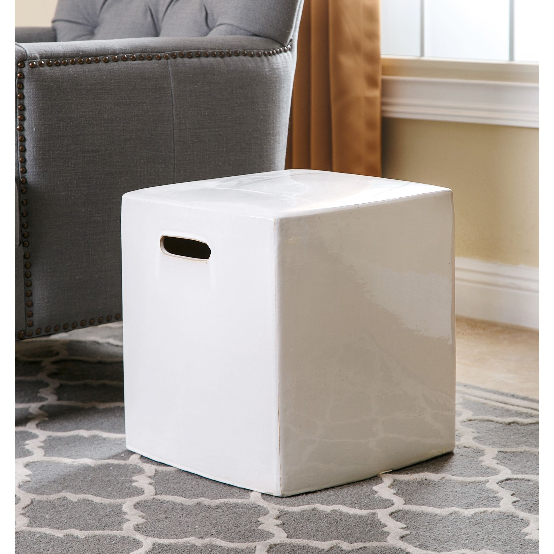 Abbyson Palmer White Ceramic Garden Stool (White), Outdoor Décor