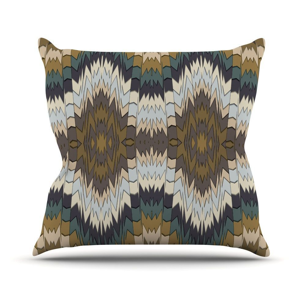 "Akwaflorell ""Papercuts"" Brown Geometric Outdoor Throw Pillow from KESS InHouse"