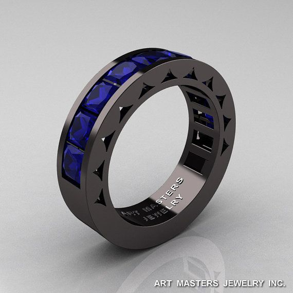 Mens Modern 14K Black Gold Princess Blue Sapphire by artmasters