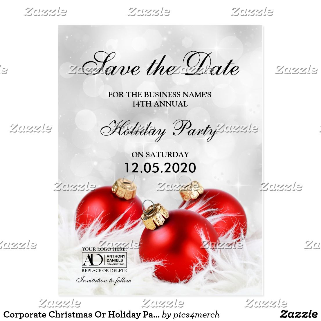 Corporate Christmas Or Holiday Party Save The Date Announcement ...
