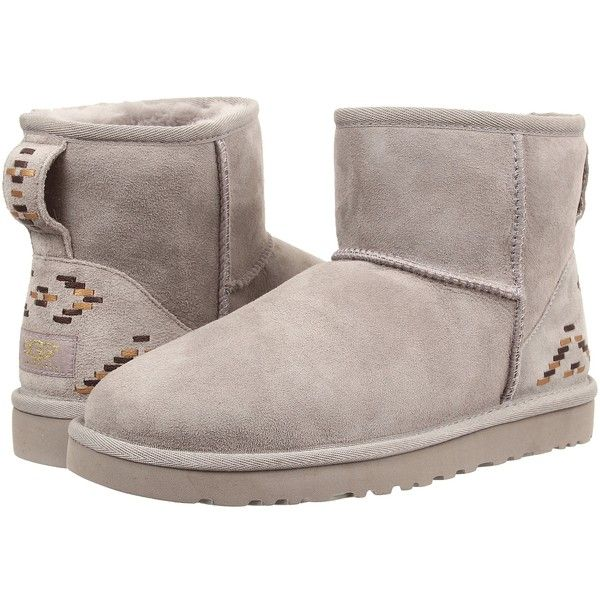 UGG Classic Mini Rustic Weave Women's Boots, Gray ($116) ❤ liked on Polyvore