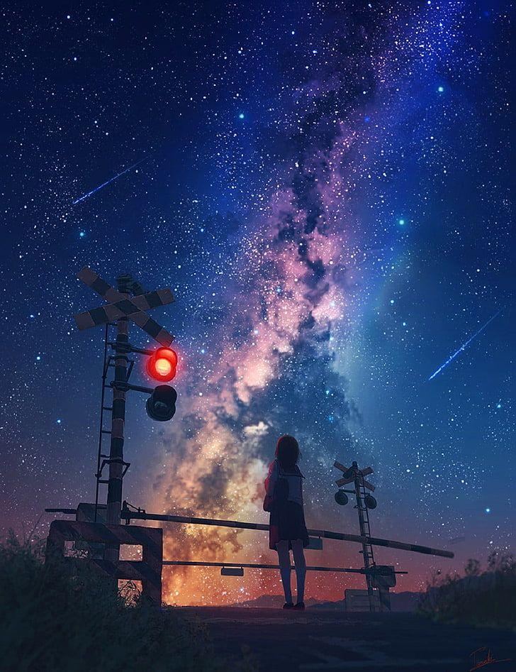HD wallpaper: starry sky, anime, galaxy, stars, shooting stars, railway crossing