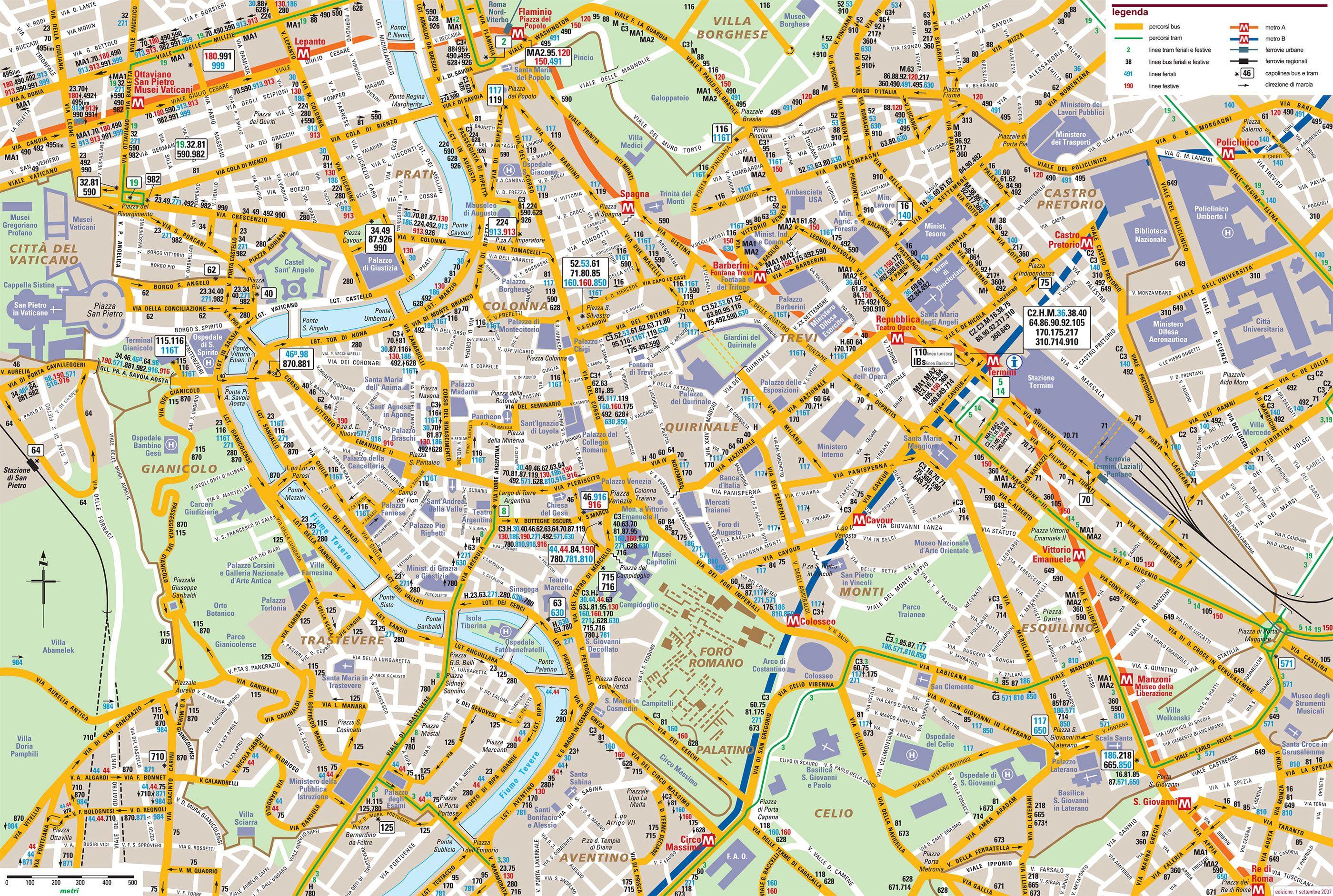 Cartina Citta Roma.Autobus Mappa Roma