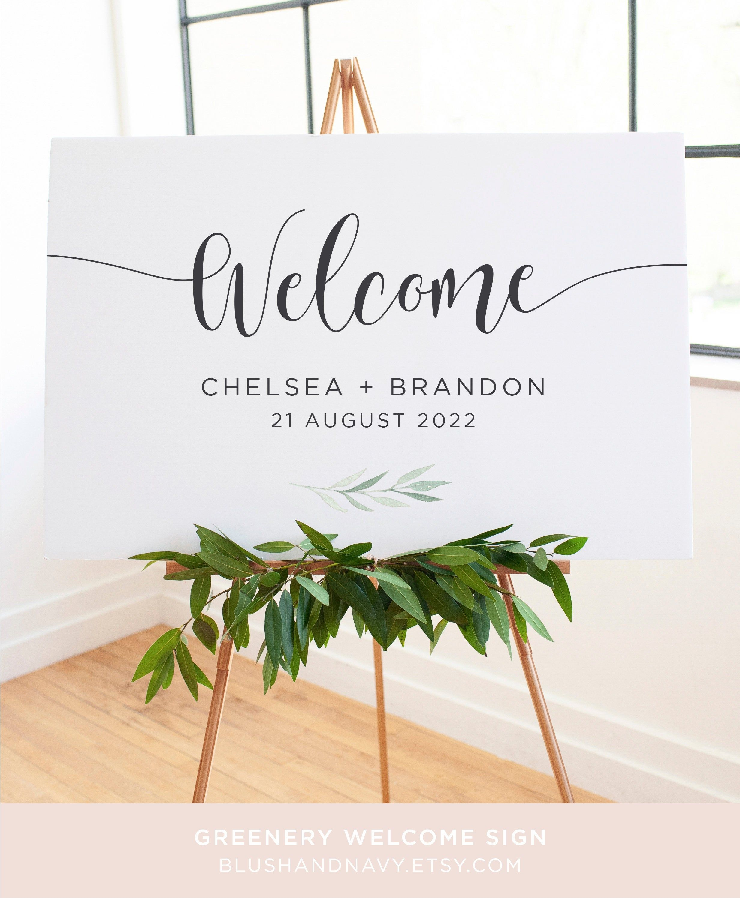 Greenery Wedding Welcome Sign | Watercolour Leaves | Printable Welcome Sign | Welcome Sign Template | Wedding Signs | Greenery Set #weddingwelcomesign