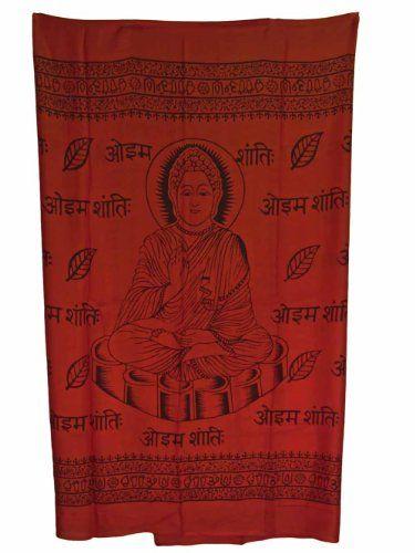 Hindu Meditation Buddha Cotton Altar Cloth Prayer Shawl 43x 66 Red >>> Check out this great product.