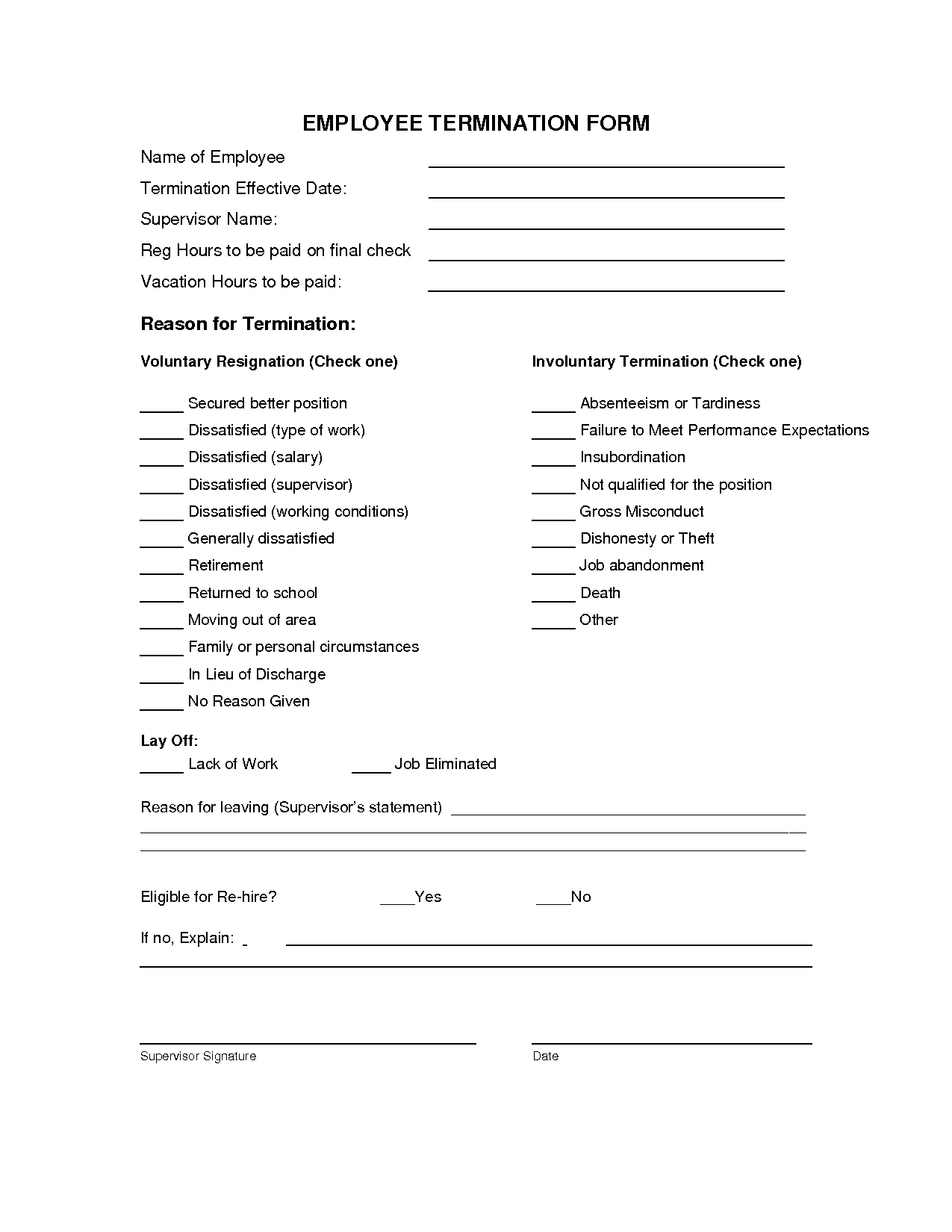 Termination Form Template Employee Termination Letter For