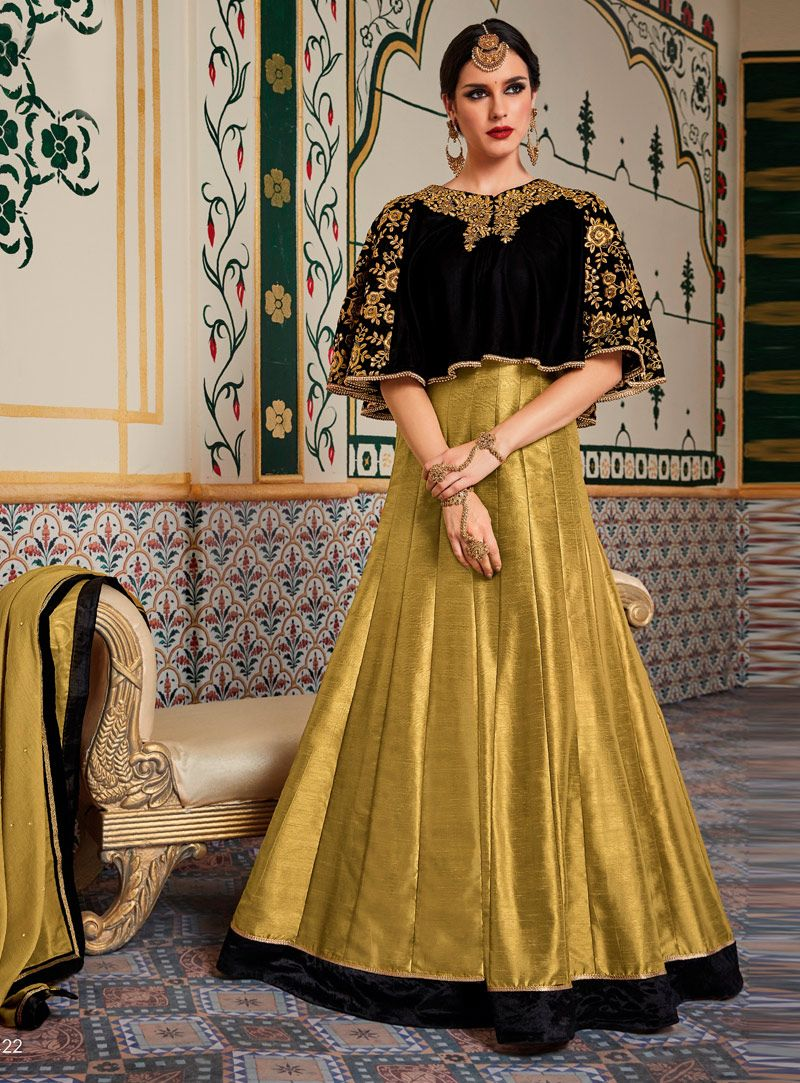 b879f31f35 Golden Velvet Floor Length Anarkali Suit With Cape 107858