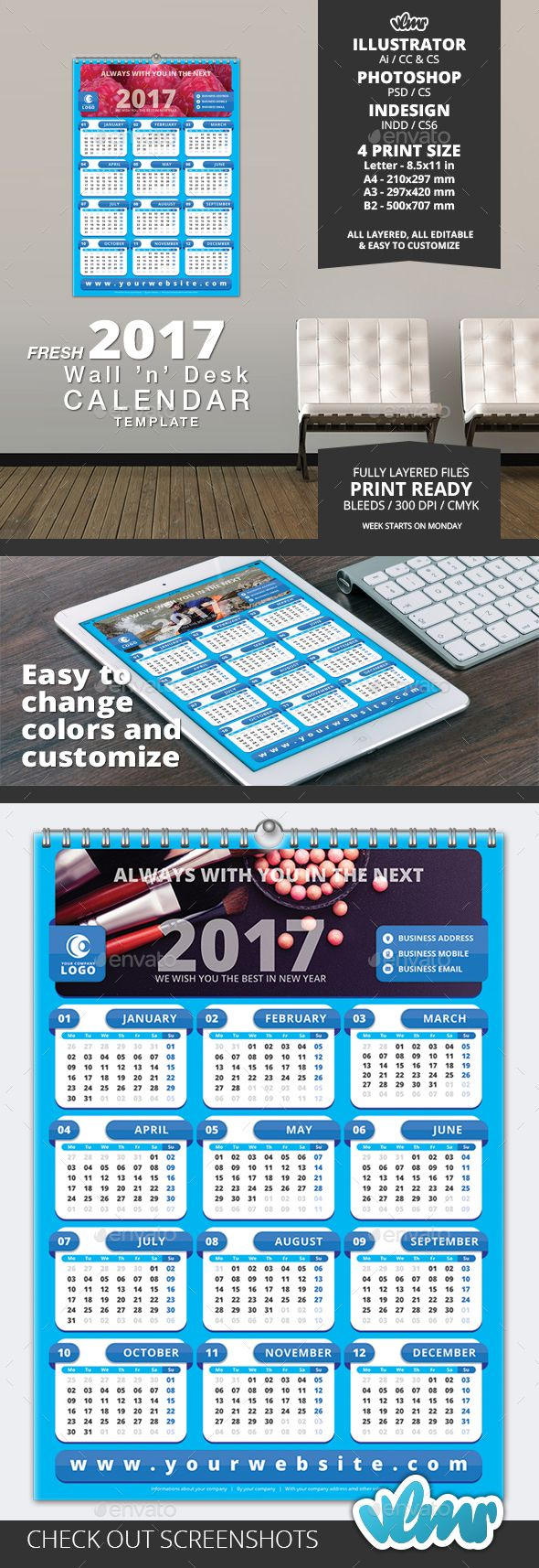 New FRESH Wall N Desk Calendar Template Now Aveliable At Vlmr - Promo calendar template