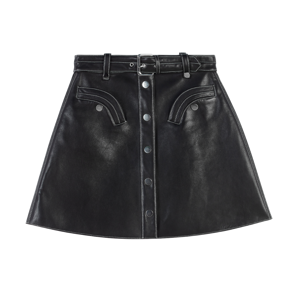 119JANAILLE Leather belted A-line skirt