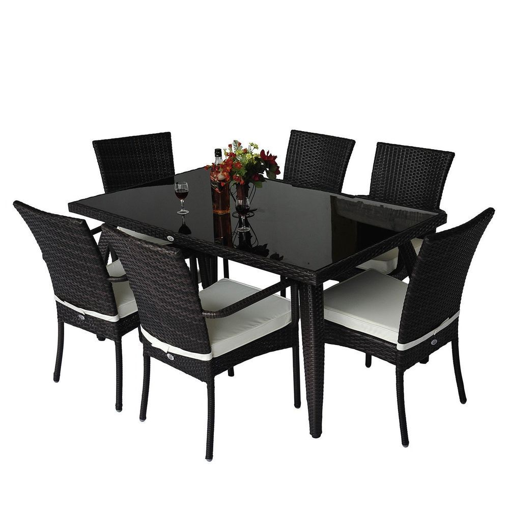 Outdoor Dining Set Brown Rattan Glass Table Chairs Garden Pool