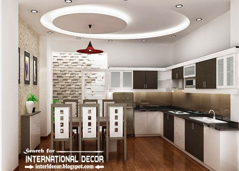 False ceiling pop design for modern kitchen, kitchen ceiling with lighting