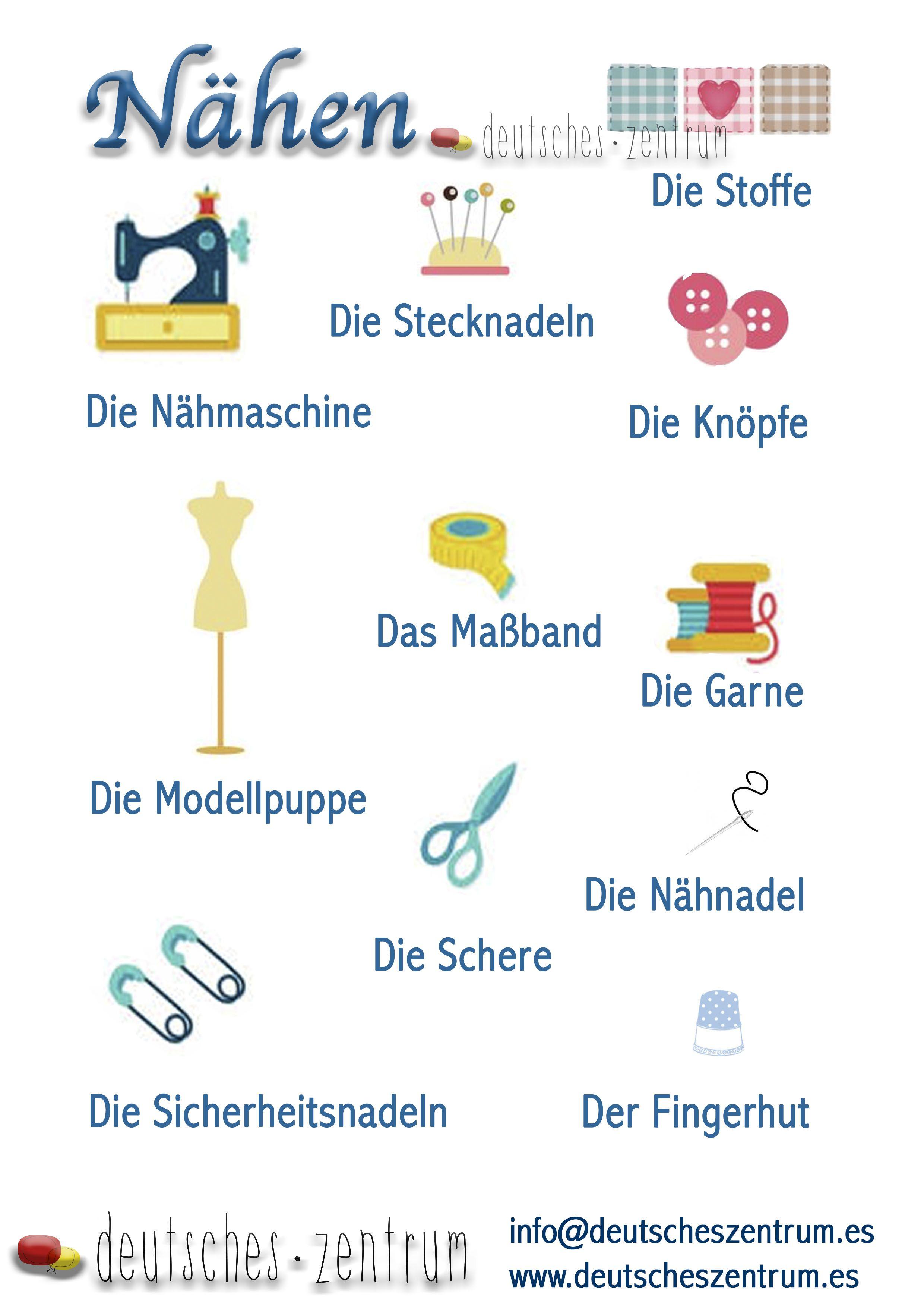 Nähen Deutsch Deutsch Wortschatz Grammatik German DAF Vocabulario ...