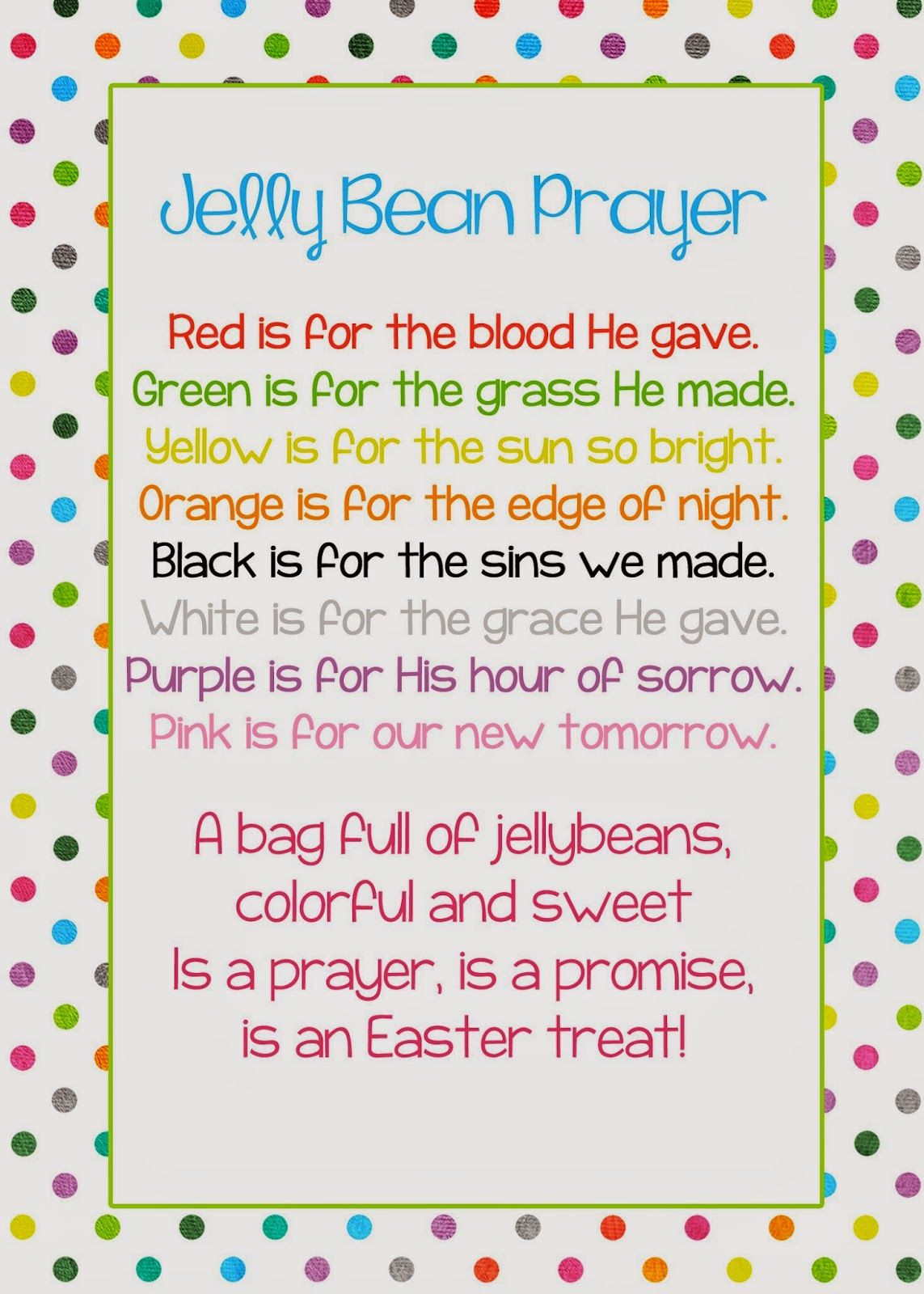 picture relating to Jelly Bean Prayer Printable named A Pocket complete of LDS prints: Jelly Bean Prayer poem - Easter